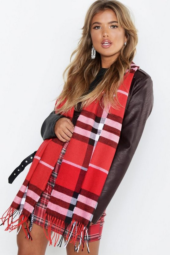 Womens Red Red Check Woven Scarf