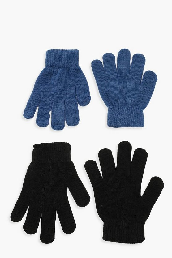 Womens Blue Black & Colour Magic Gloves Multipack