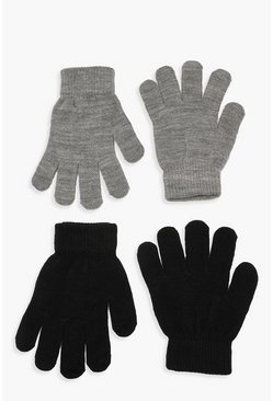 Womens Grey Black & Colour Magic Gloves Multi Pack