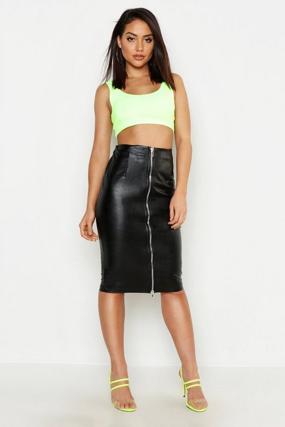 PU Leather Look Zip Front Midi Skirt