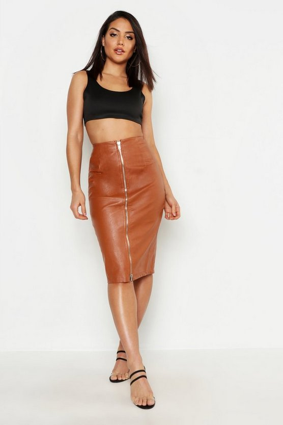 Womens Camel PU Leather Look Zip Front Midi Skirt