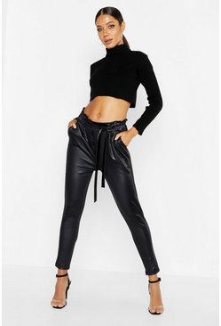 Black Pu Leather Look Jogger Pants