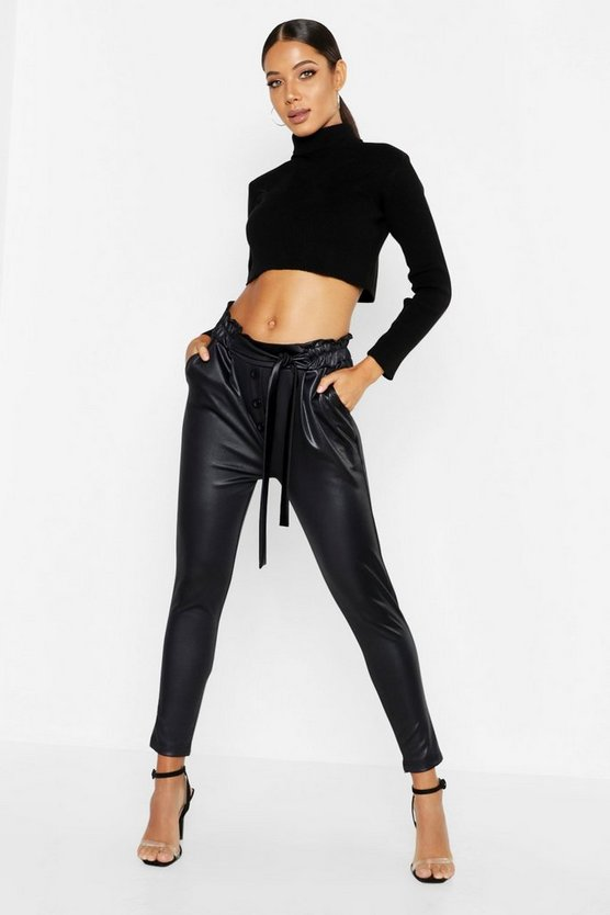 Womens Black Pu Leather Look Jogger Pants