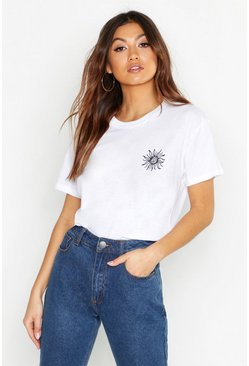"T-Shirt mit ""Sunshine""-Slogan, Weiß, Damen"