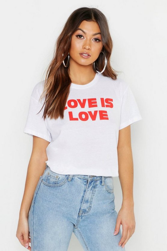 Womens White Love Is Love Slogan T-Shirt