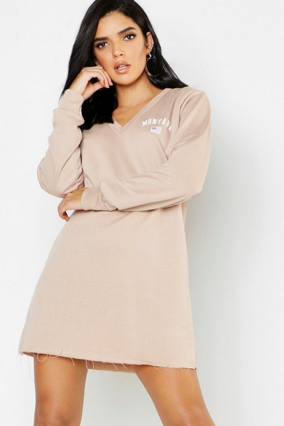 Womens Stone Montana V Neck Sweat Dress
