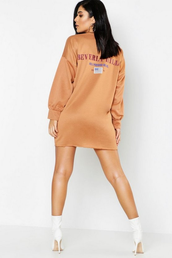 Womens Camel Beverly Hills Front & Back Print Sweat Dress