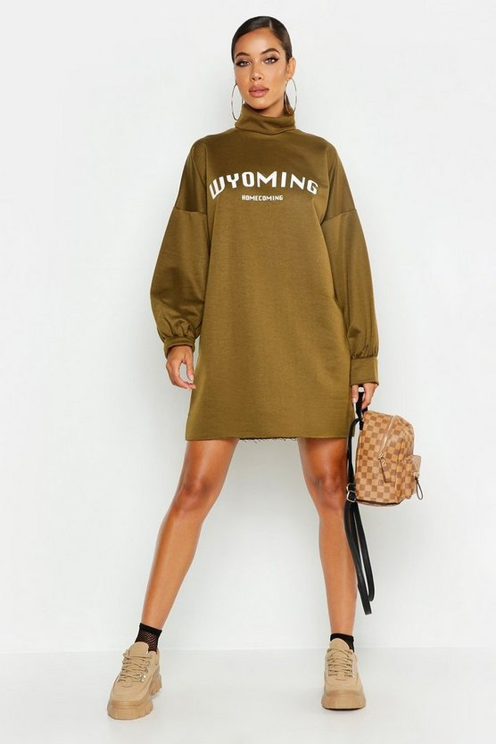 Womens Khaki True Roll Neck Wyoming Sweat Dress