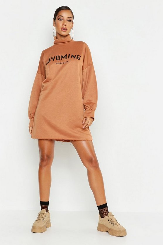 Camel True Roll Neck Wyoming Sweat Dress