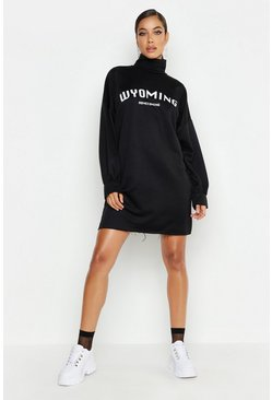 Womens Black True Roll Neck Wyoming Sweat Dress