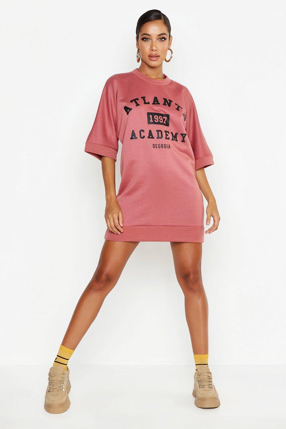 dacb55eee7f779 Womens Rose Atlanta Short Sleeve Sweat Dress