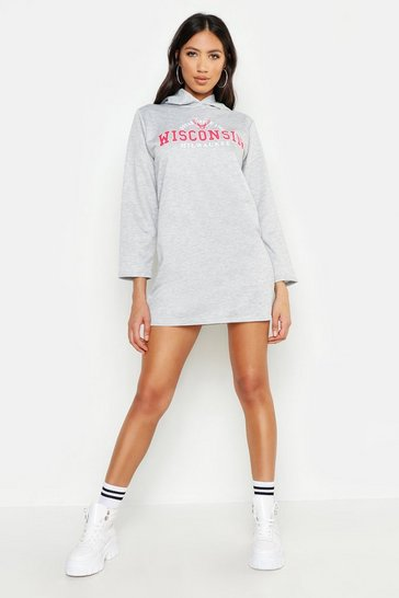 Womens Grey marl Wisconsin Hooded Sweat Dress