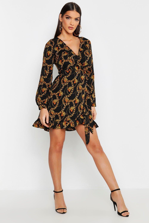 Woven Chain Print Ruffle Wrap Dress