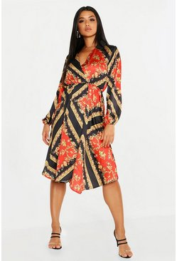 Womens Black Satin Floral Scarf Print Wrap Midi Dress