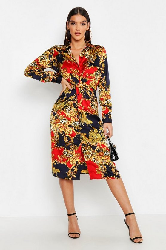 Womens Navy Satin Knot Front Chain Print Midi Dress