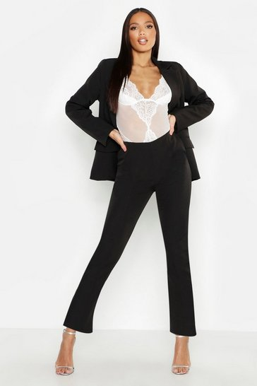 Womens Black Woven Seam Detail Suit Trouser