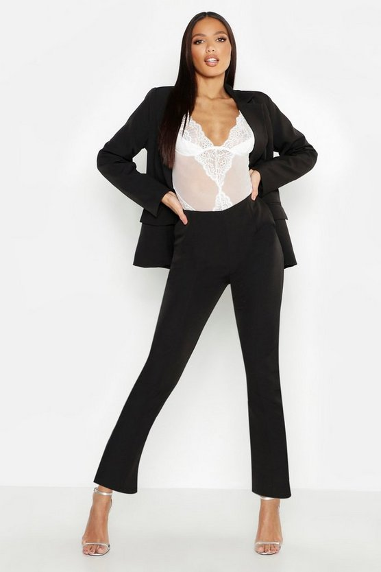 Womens Black Woven Seam Detail Suit Pants