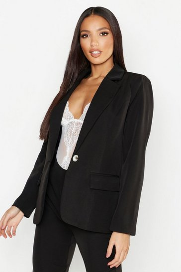 Womens Black Woven Pocket Detail Blazer