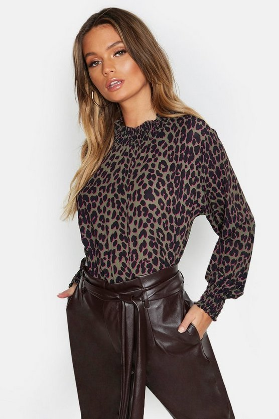Womens Khaki Woven Leopard Sleeved Collar Blouse