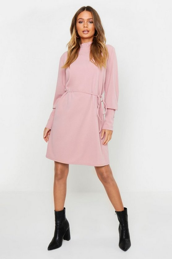 Womens Soft pink Frill Neck Button Sleeve Shift Dress