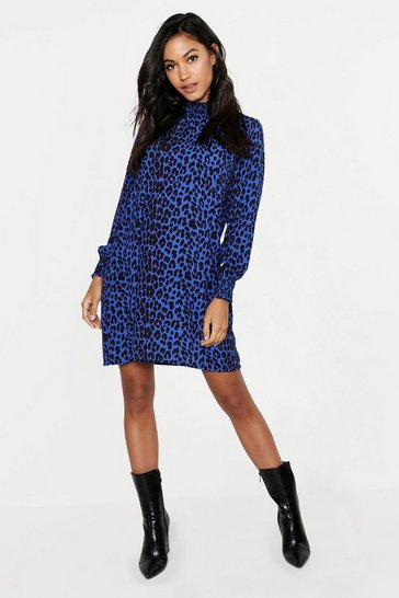 Womens Cobalt Woven Leopard Sheared Neck Shift Dress