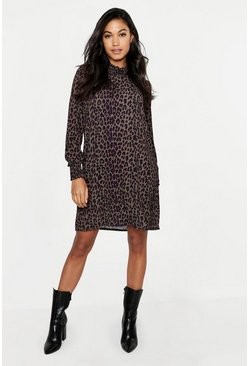 Womens Khaki Woven Leopard Sheared Neck Shift Dress