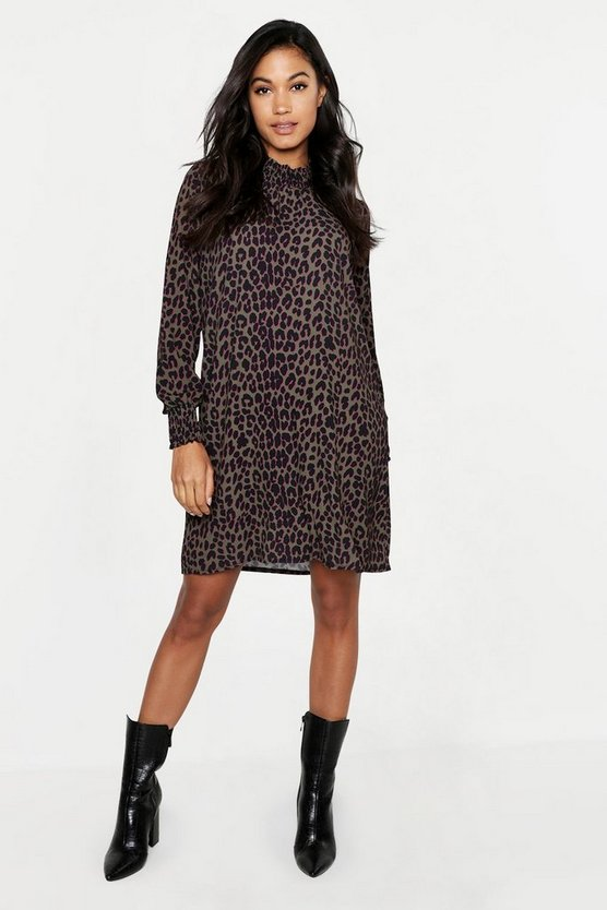 Woven Leopard Sheared Neck Shift Dress