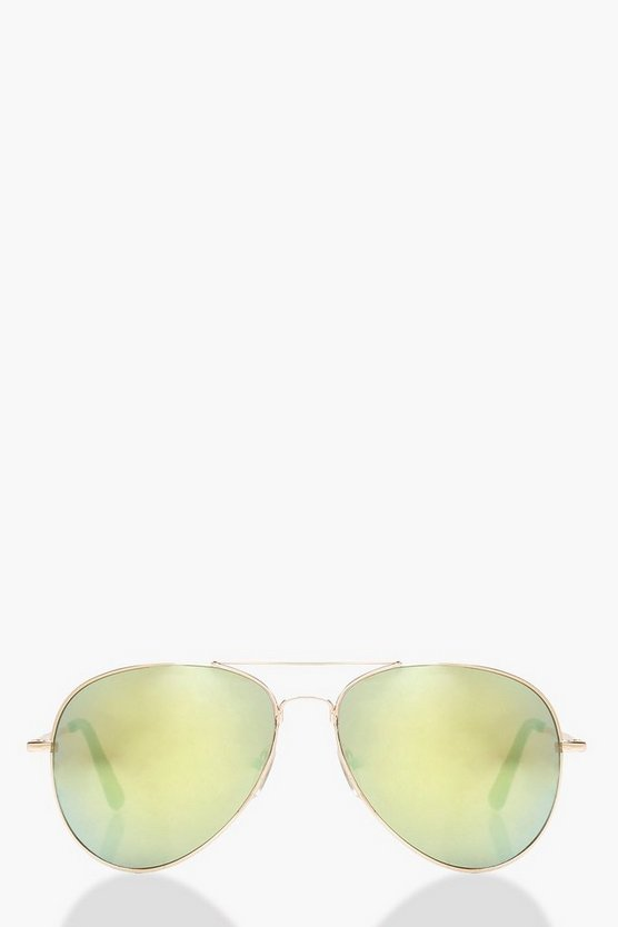 Womens Multi Mirrored Aviator Sunglasses