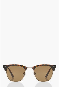 Womens Brown Classic Square Top Tortoiseshell Sunglasses
