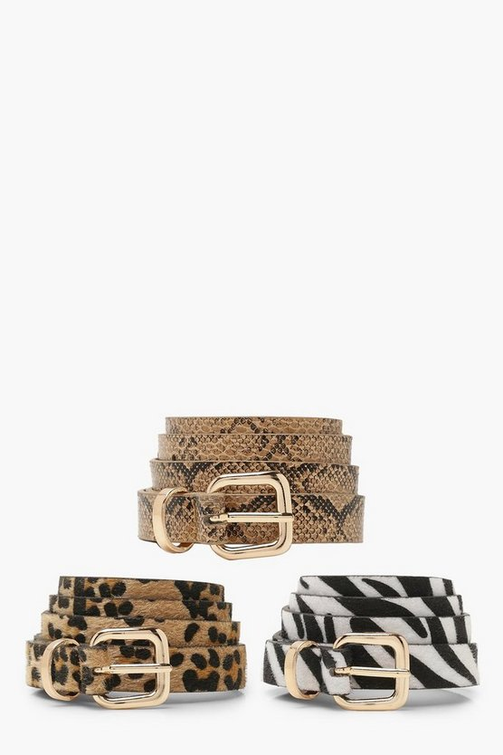 Womens Multi Mixed Animal Skinny Belt Pack