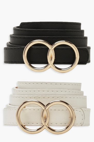 Womens Multi Double Ring Skinny 2 Pk Belt