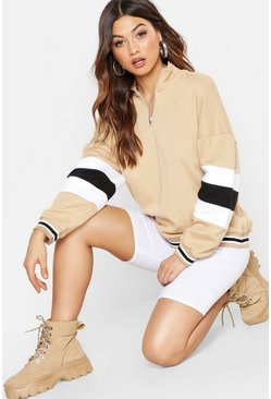 Womens Camel Colour Block Sleeve Zip Front Oversized Sweat