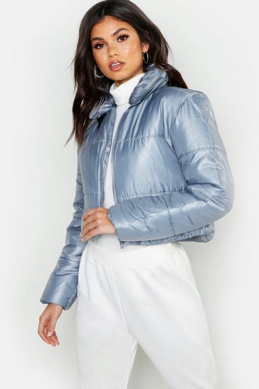Womens Grey Cropped Collared Puffer Jacket