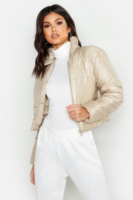 Cropped Collared Puffer Jacket