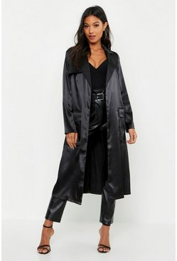 Womens Black Satin Utility Belted Trench Coat