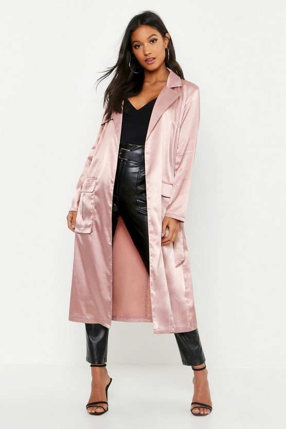 Womens Mauve Satin Utility Belted Trench Coat