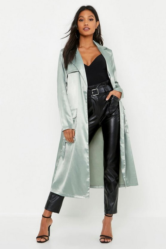 Womens Sage Satin Utility Belted Trench Coat
