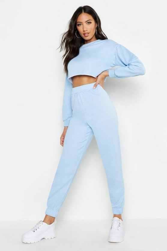 Womens Sky Crew Neck Raw Hem And Cuff Jogger Tracksuit