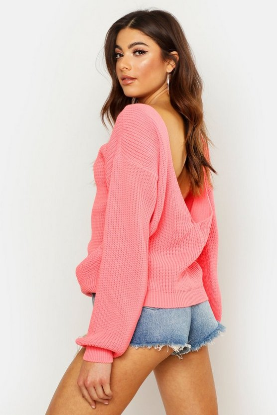 Womens Coral V-Back Oversized Sweater