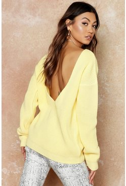 Womens Lemon V-Back Oversized Sweater