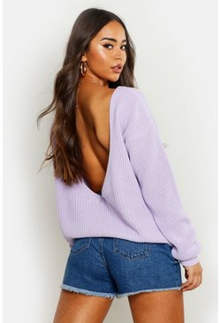 Womens Lilac V-Back Oversized Jumper