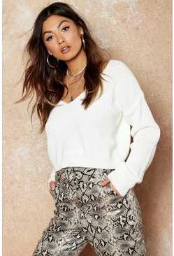 Womens Cream V Neck Fisherman Crop Sweater