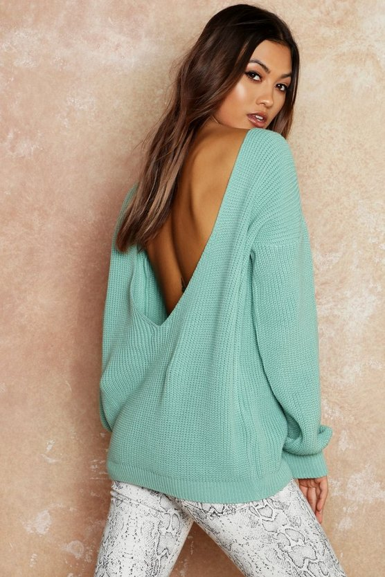 Womens Sage V-Back Oversized Jumper