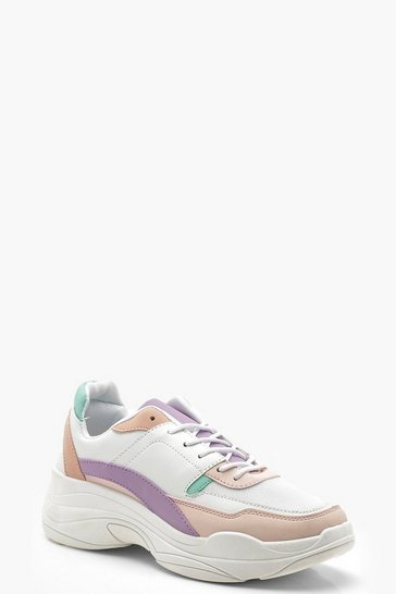 Womens White Multi Colour Chunky Trainers
