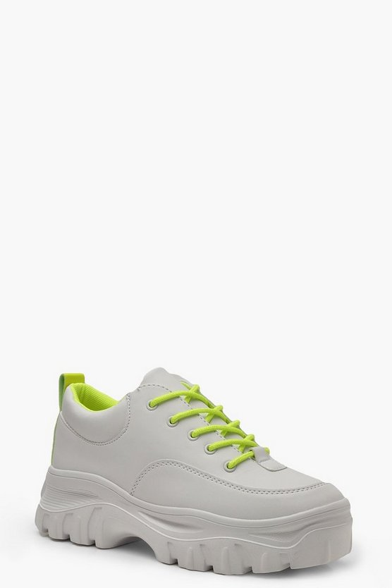 Womens Lime Neon Chunky Cleated Colour Pop Trainers