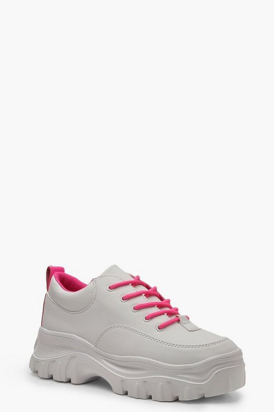 Womens Pink Neon Chunky Cleated Colour Pop Sneakers