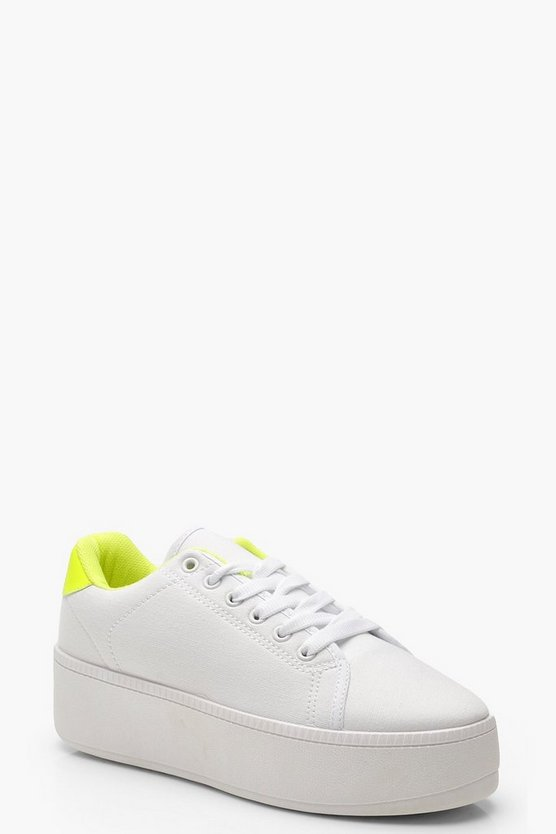 Neon Colour Pop Lace Up Platform Trainers