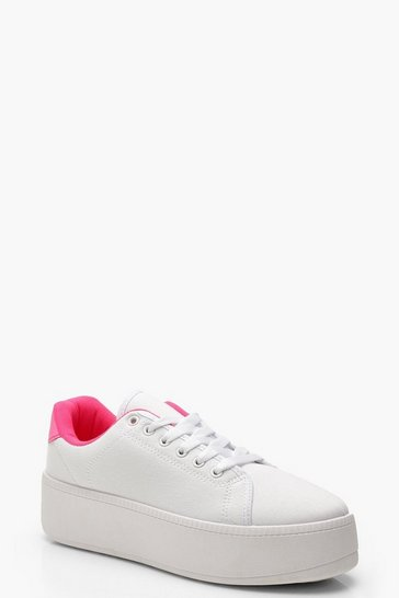 Womens Pink Neon Colour Pop Lace Up Platform Trainers