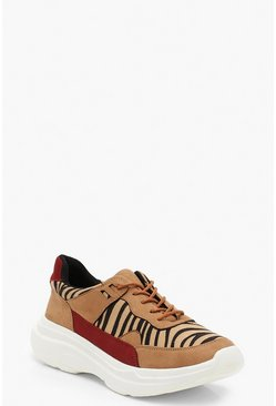 Womens Brown Zebra Chunky Sneakers