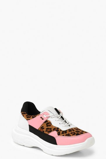Womens Leopard Chunky Trainers